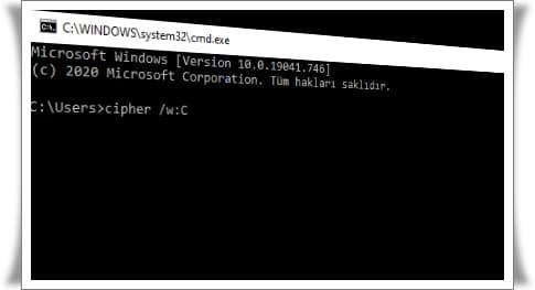 Cipher komutu ile bilgisayardaki dosyaları kalıcı olarak silme