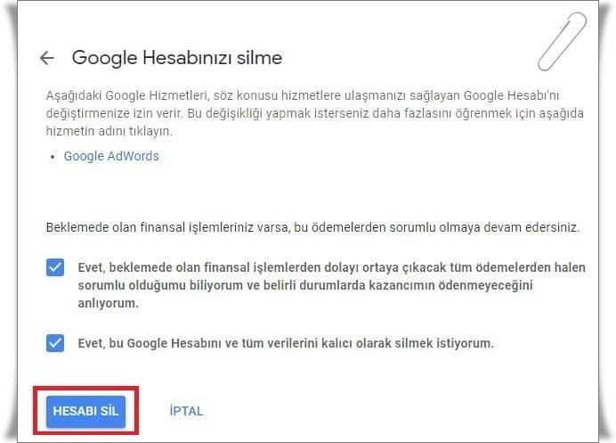 gmail hesap silme 1