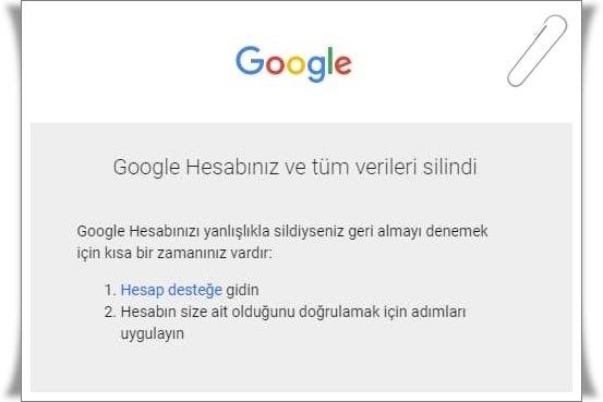 gmail hesap silme 2