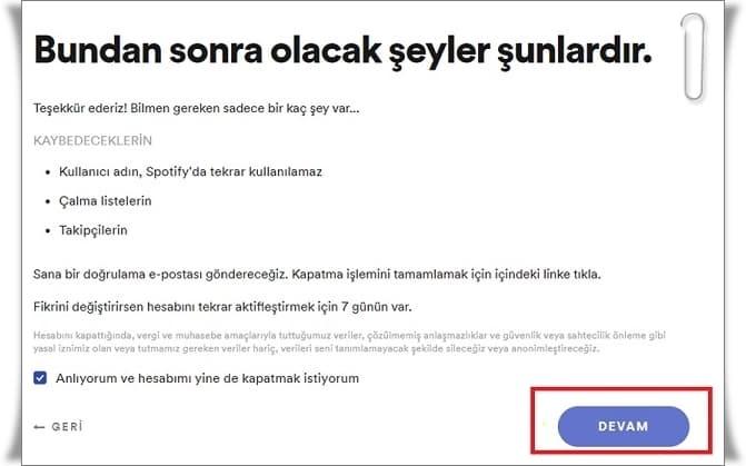 Spotify Hesap Silme, Spotify Hesap Kapatma