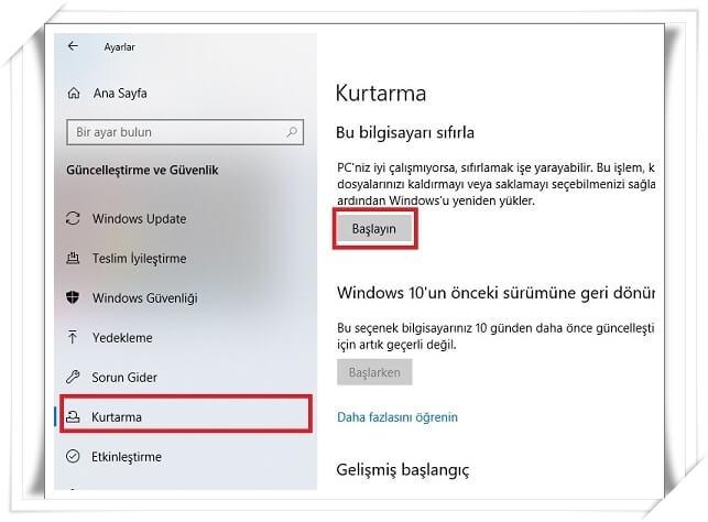 Windows Bilgisayarı Fabrika Ayarlarına Döndürme (4 Adımda Windows 10 Sıfırlama)