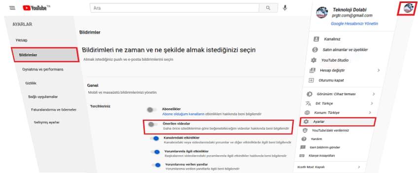 youtube onerileri kapatma 1